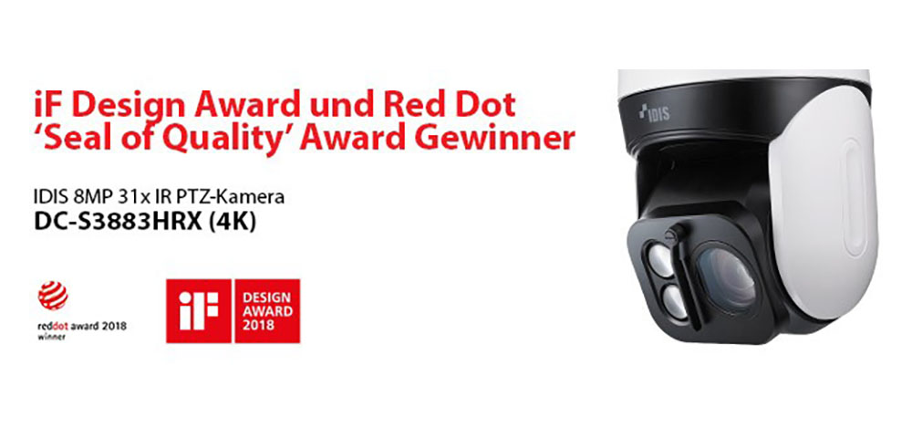 Idis: PTZ-Kamera gewinnt zwei renommierte Designpreise
