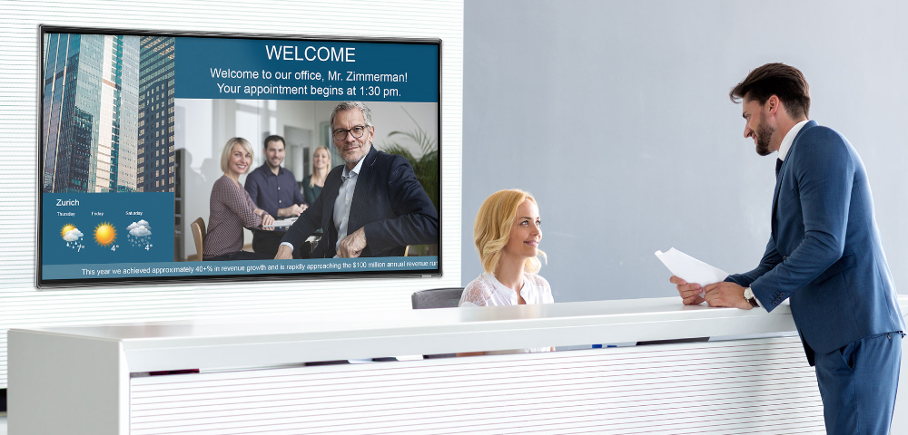 Ihr Digital-Signage-Begrüßungsbildschirm powered by SpinetiX